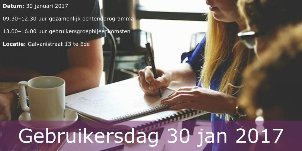 Programma Gebruikersdag 30 januari 2017