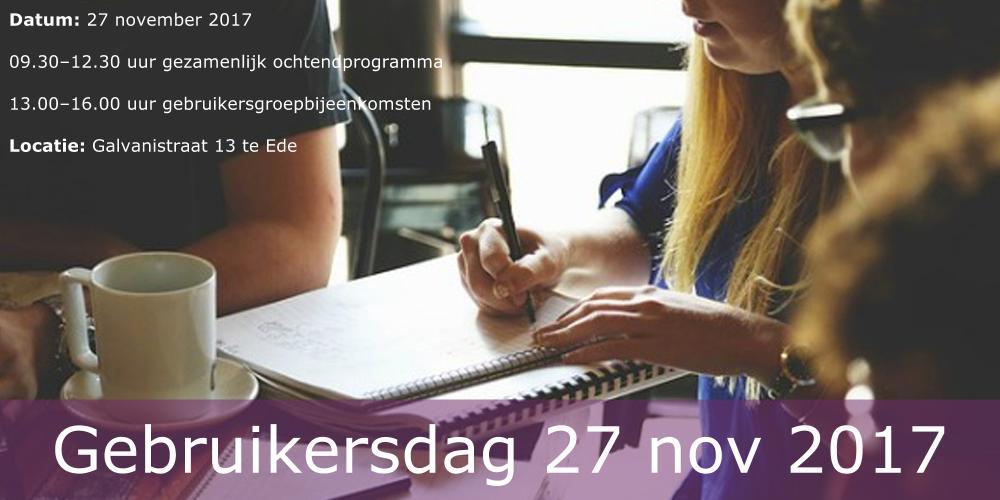 Programma Gebruikersdag 27 november 2017
