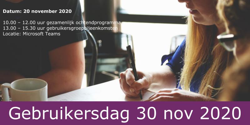 Programma Gebruikersdag 30 november 2020